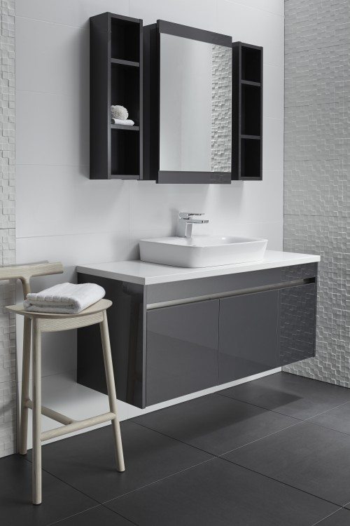 Sirocco Alumino 1200 Wall Graphite Pure White bench with Valdama Basin