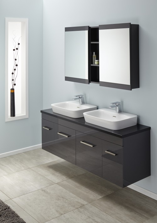 Sirocco Velaire 1500 DB Wall Absolute Black with Valdama Basins Box handle Soji 500 Mirror Cabinets Soji 200 Open Self Exochique Graphite