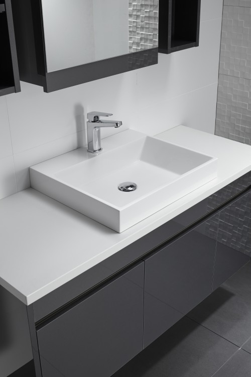 Slab Basin Sirocco  Alumino 1200 Wall Graphite Pure White bench