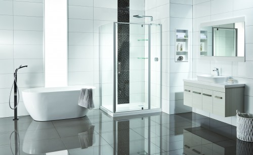 Soul Shower, Cassini 1500 Bath and Lazaro Velaire Vanity in White Ash