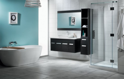 Lifestyle Shower, Cassini bath and Sirocco Velaire Vanity in Piper