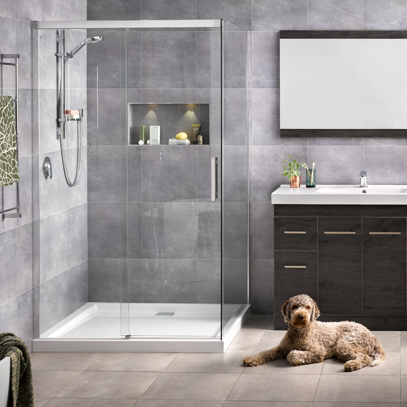 Motio 1200x1000 2 Sided Shower on Tiled Wall