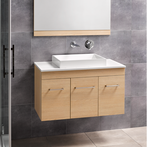 Sirocco Velaire 900 Wall Premium Oak Snow Bench Slab no tap hole Basin, Box Handle - RRP $2650